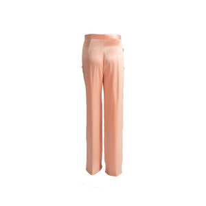 Long Silk Trousers with Pockets Pink