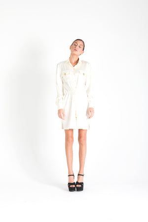 Long Sleeve Silk Tie Up Shirt Dress White