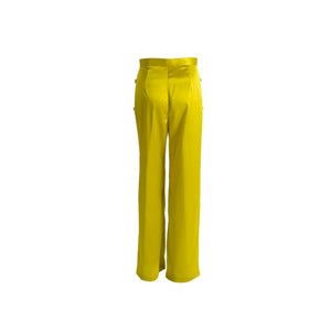 Long Silk Trousers with Pockets Green