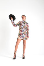 Load image into Gallery viewer, Multicolor Long Sleeve Mini Dress