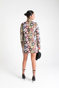 Multicolor Long Sleeve Mini Dress