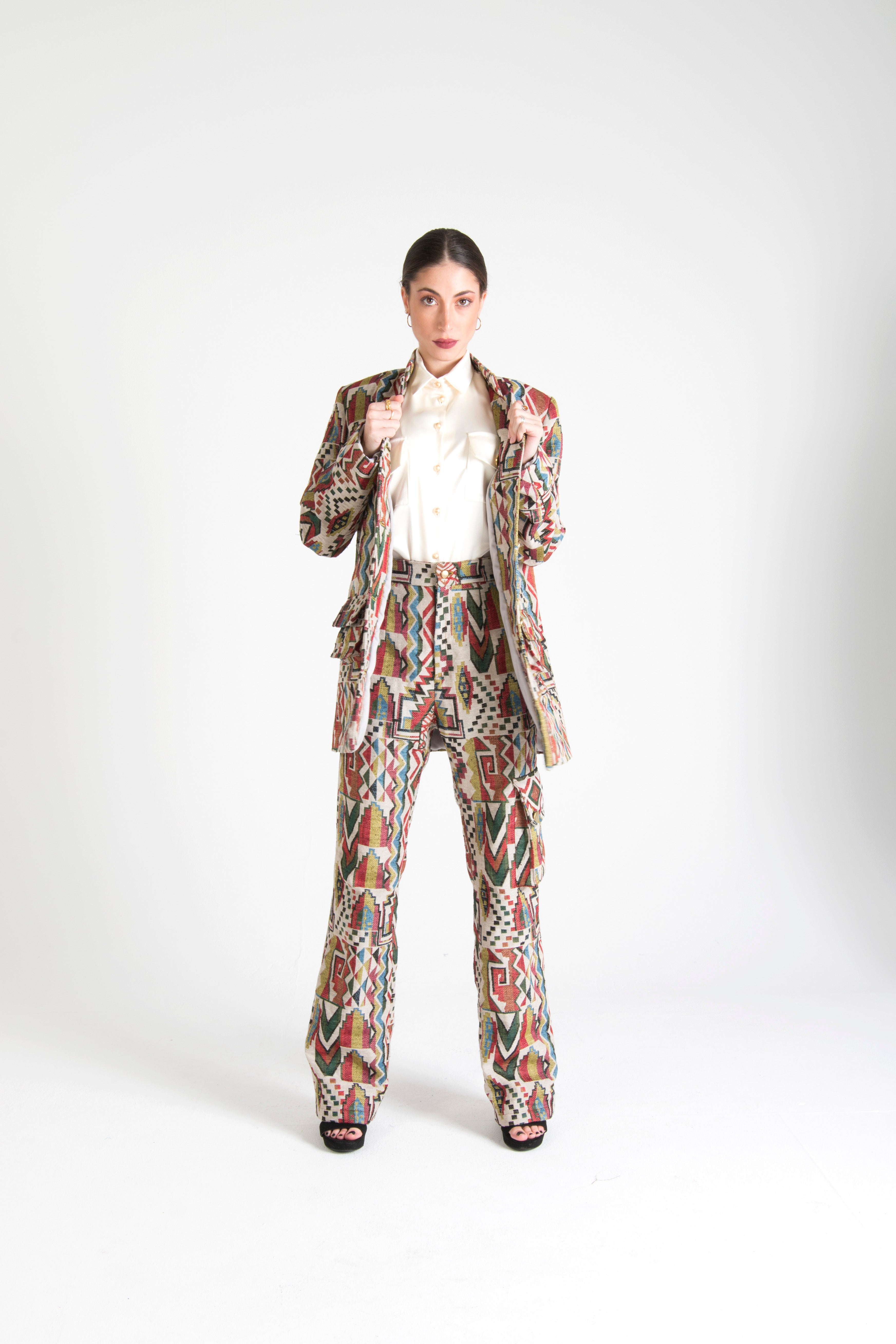 Multicolor Long Trousers with Pockets White