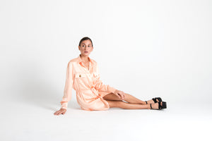 Long Sleeve Silk Tie Up Shirt Dress Pink