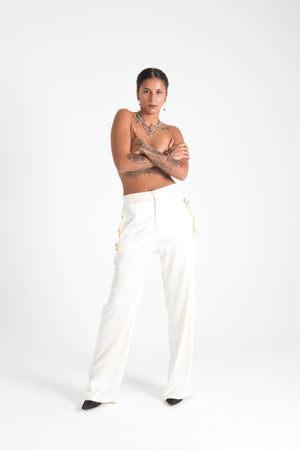 Long Silk Trousers with Pockets White