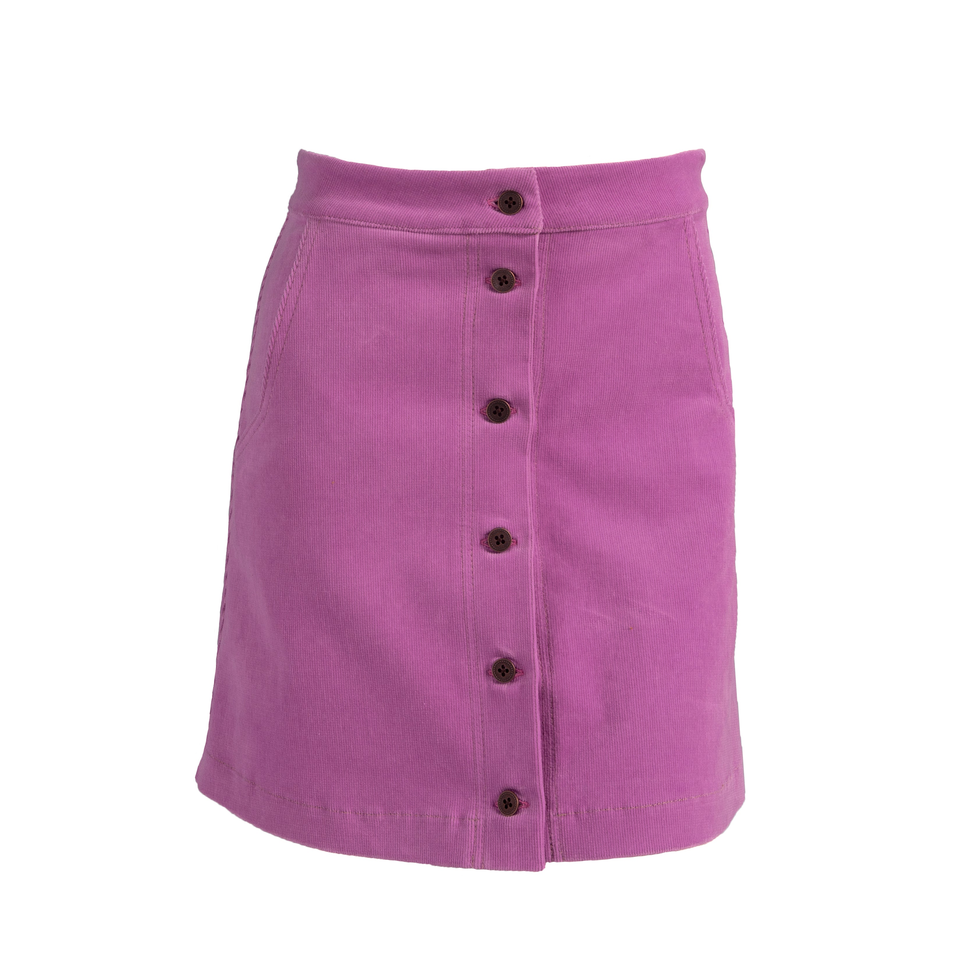 Ribbed Corduroy High Waist Button Up Mini Skirt Pink