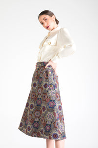 Multicolor Midi Skirt with Pockets