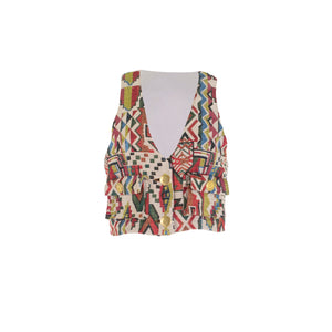 Multicolor Cropped Vest with Pockets