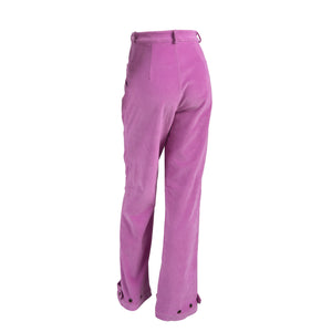 Ribbed Corduroy High Waist Trousers With Pockets Pink