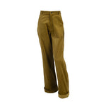 Load image into Gallery viewer, Ribbed Corduroy High Waist Trousers With Pockets Green