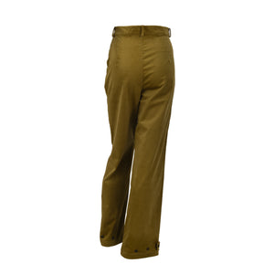 Ribbed Corduroy High Waist Trousers With Pockets Green