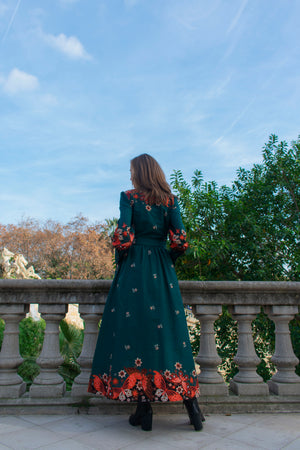 Java Hokokai Long Sleeve Maxi Dress