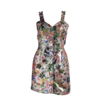Load image into Gallery viewer, Brocade Button Up Mini Dress Metallic Garden