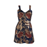 Load image into Gallery viewer, Brocade Button Up Mini Dress Metallic Nights
