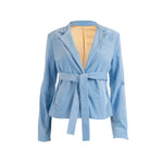 Load image into Gallery viewer, Ribbed Corduroy Blazer With Pockets Baby Blue