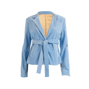 Ribbed Corduroy Blazer With Pockets Baby Blue