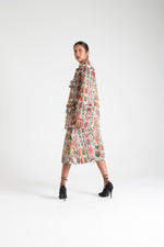 Load image into Gallery viewer, Multicolor Midi Skirt with Pockets White