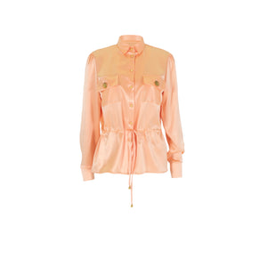 Long Sleeve Silk Tie Up Blouse Pink