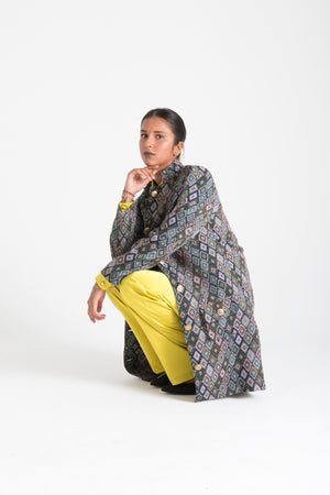 Multicolor Long Jacket with Pockets