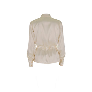 Long Sleeve Silk Shirt White