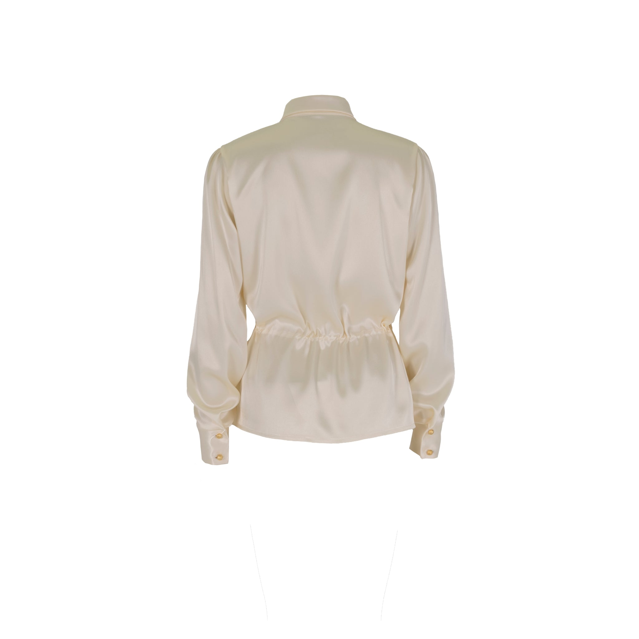 Long Sleeve Silk Tie Up Blouse White