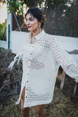 Long Sleeve Oversized Sequined Cotton Button Up Shirt