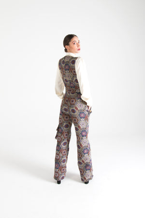 Multicolor Long Dungarees with Pockets