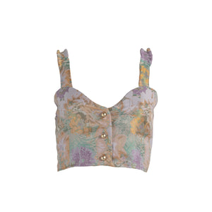 Brocade Button Up Crop Top Metallic Pastel