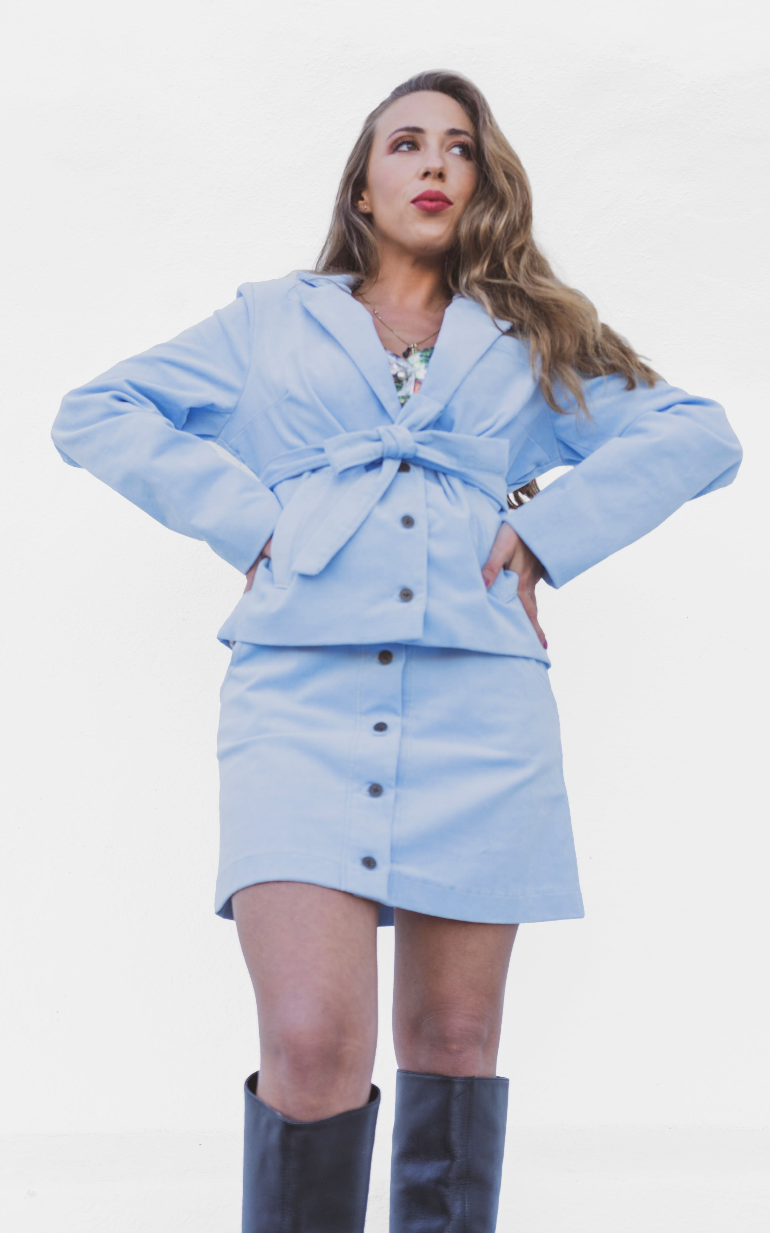 Ribbed Corduroy High Waist Button Up Mini Skirt Baby Blue