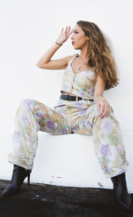 Load image into Gallery viewer, Brocade Button Up Crop Top Metallic Pastel
