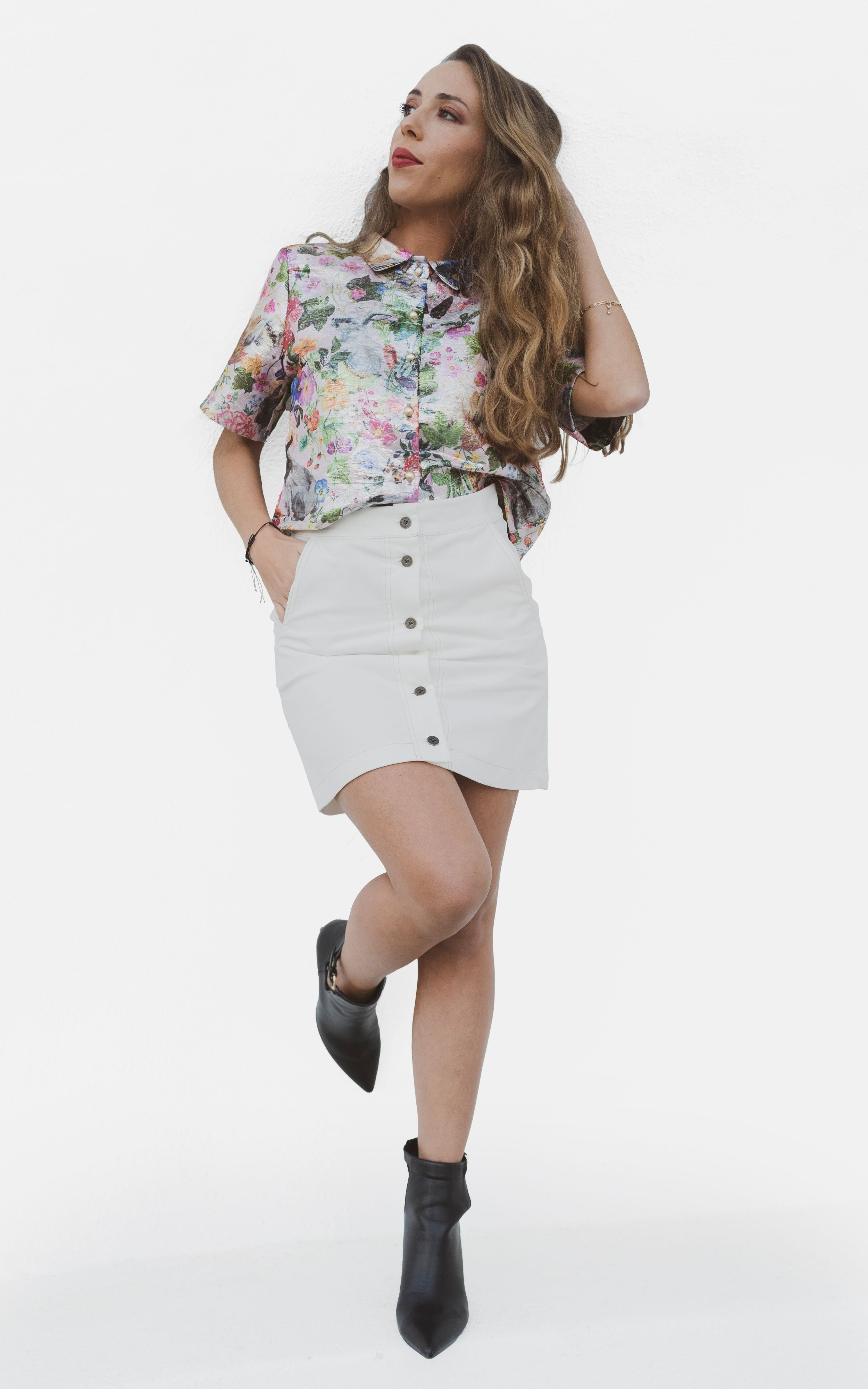 Ribbed Corduroy High Waist Button Up Mini Skirt White