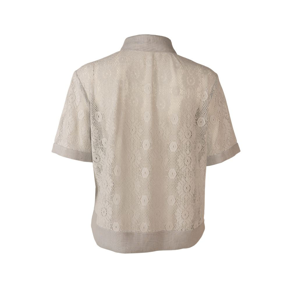Light Grey Short Sleeve Cotton Lace Button Up Shirt