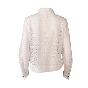 White Long Sleeve Cotton Lace Button Up Shirt