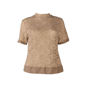 Beige Short Sleeve Cotton Lace Shirt with a Back Zipper