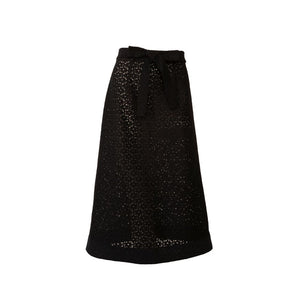 Black Cotton Lace Midi Skirt