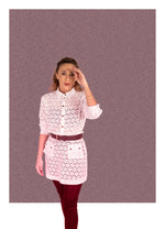 Load image into Gallery viewer, White Long Sleeve Cotton Lace Button Up Shirt