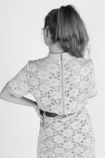 Load image into Gallery viewer, Beige Short Sleeve Cotton Lace Shirt with a Back Zipper