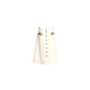 A-Line Wool Button Up Midi Skirt with Front Pockets White
