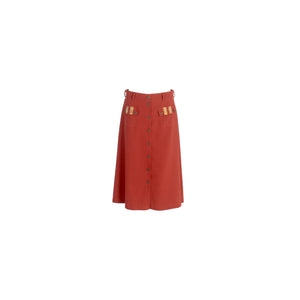 A-Line Wool Button Up Midi Skirt with Front Pockets Burgundy