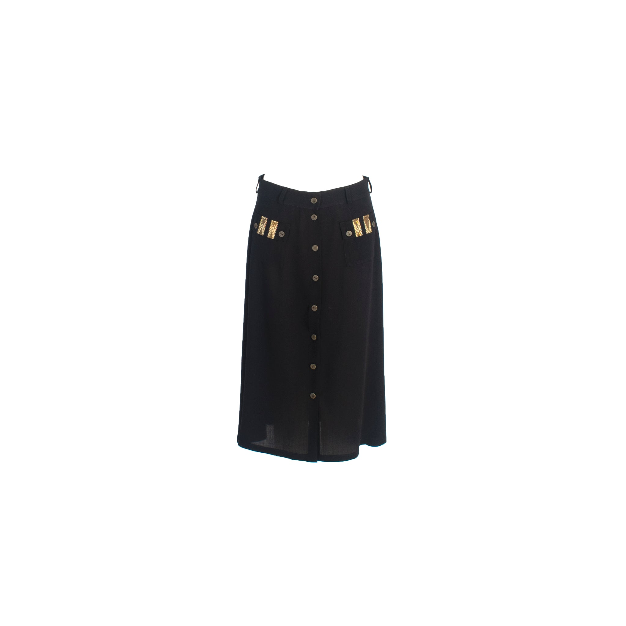 A-Line Wool Button Up Midi Skirt with Front Pockets Black