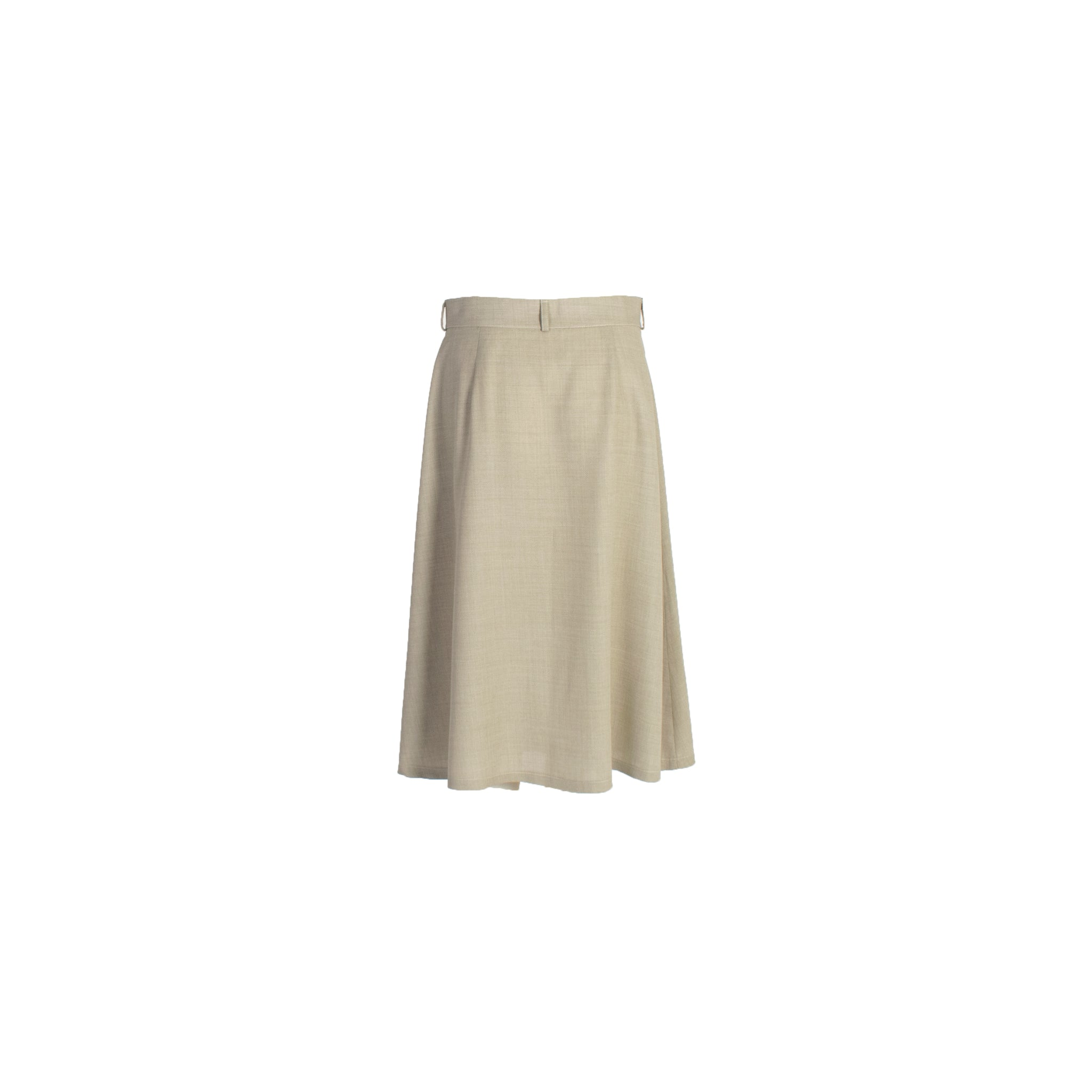A-Line Wool Button Up Midi Skirt with Front Pockets Grey