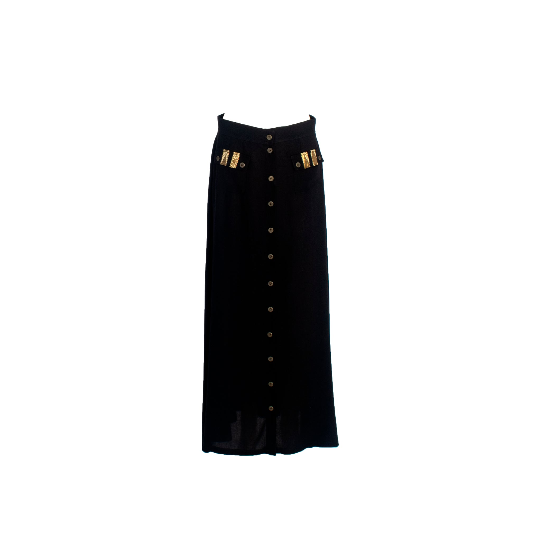 A-Line Wool Button Maxi Skirt with Front Pockets Black