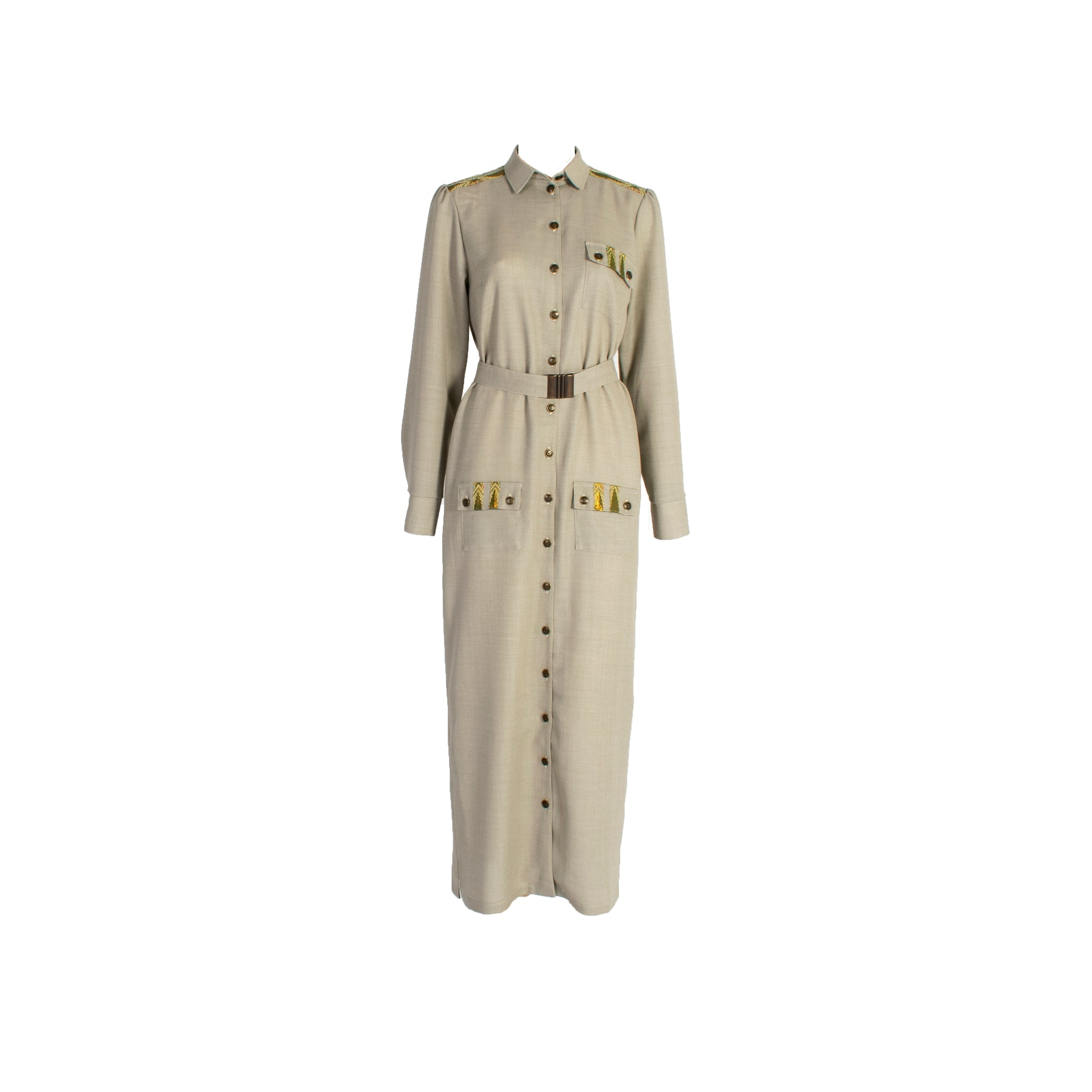 Long Sleeve Wool Button Up Shirt Dress with Chest Pockets