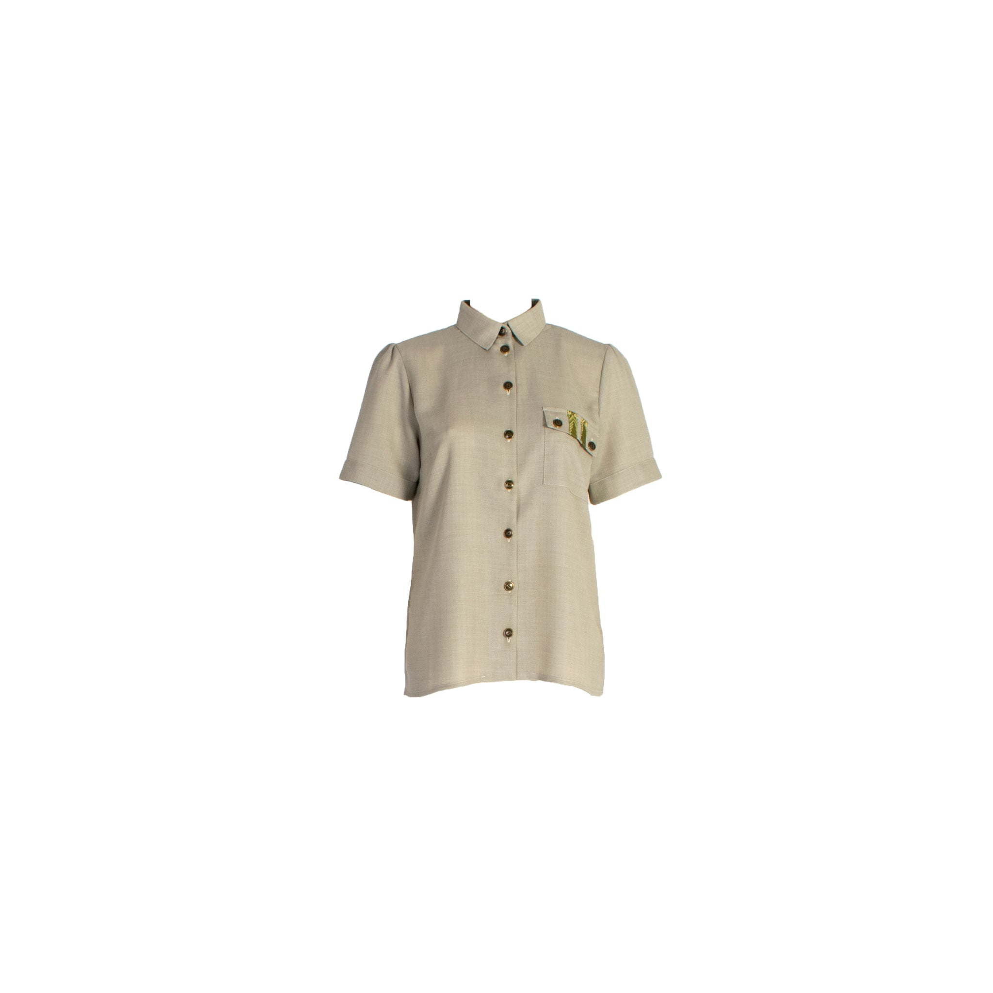 Short Sleeve Wool Button Up Shirt with Chest Pockets Grey