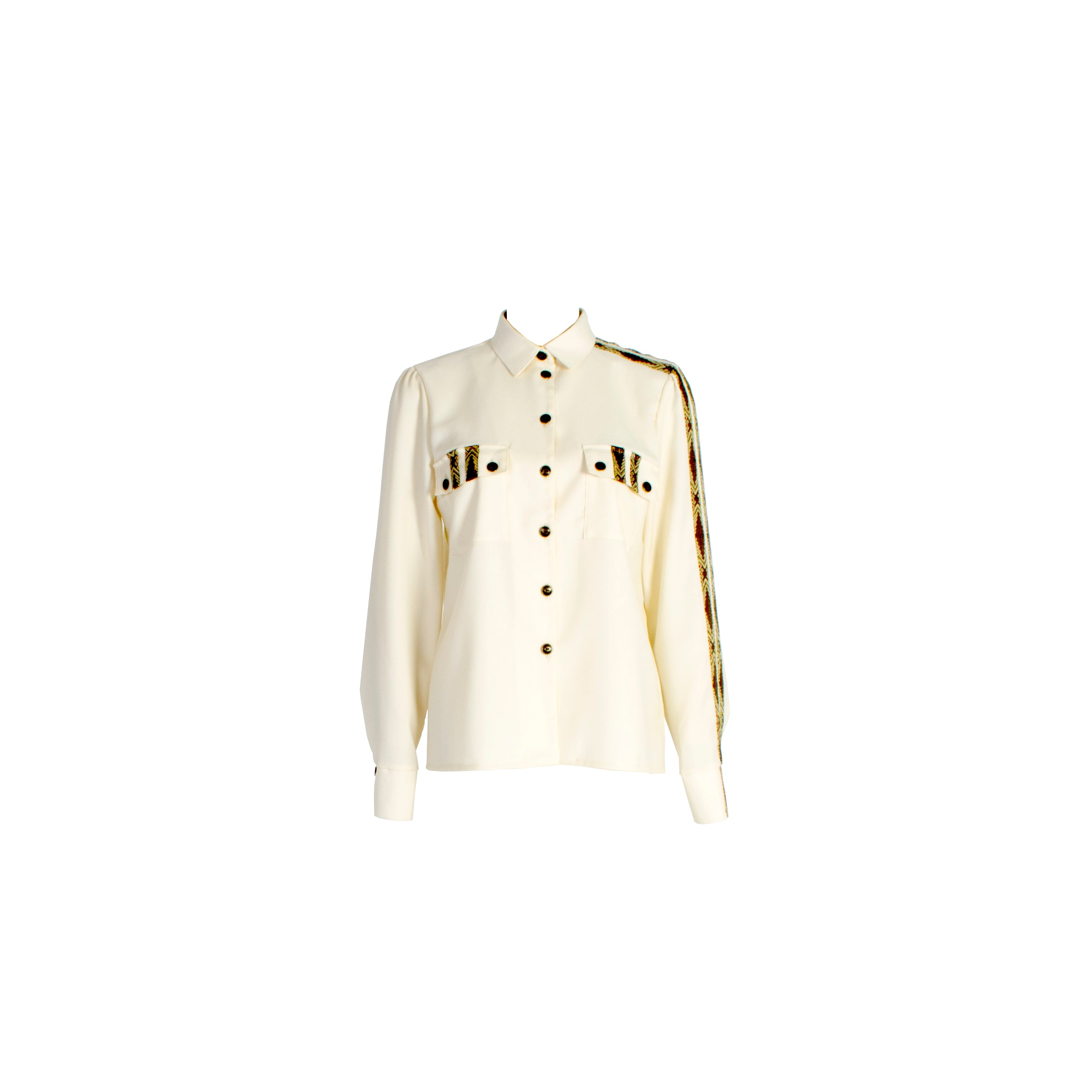 Long Sleeve Wool Button Up Shirt with Chest Pockets White