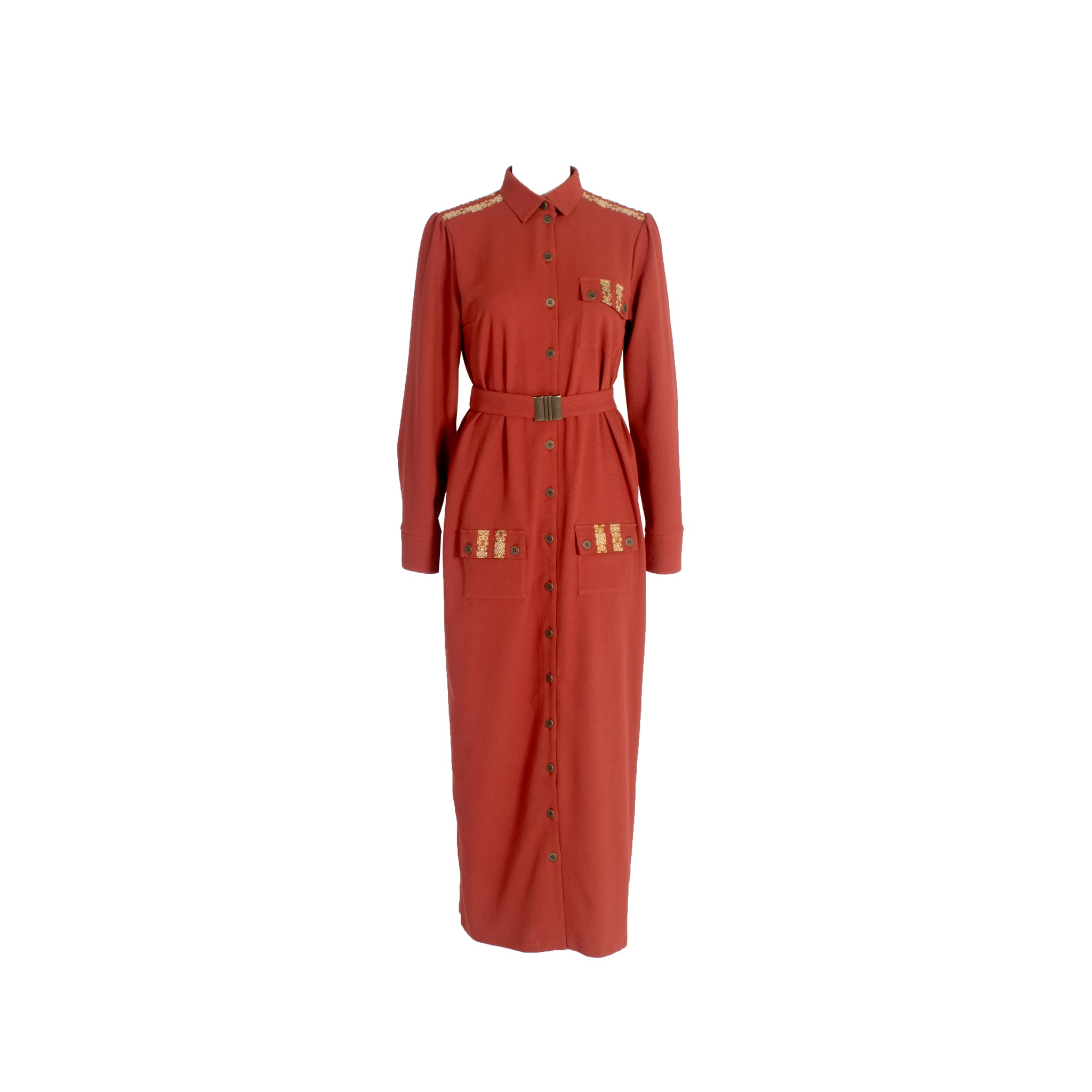 Long Sleeve Wool Button Up Shirt Dress with Chest Pockets Burgundy