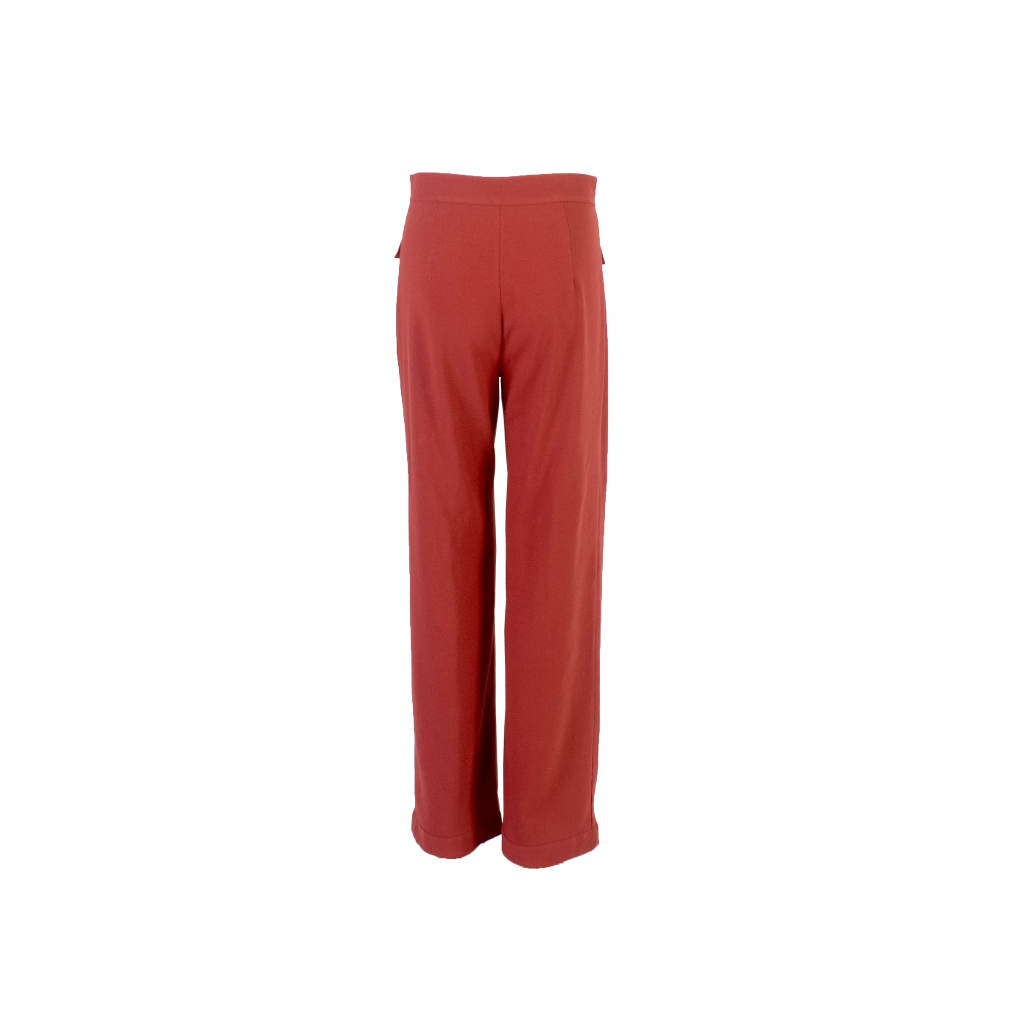 Straight Cut Wool Trousers with Front Pockets Burgundy