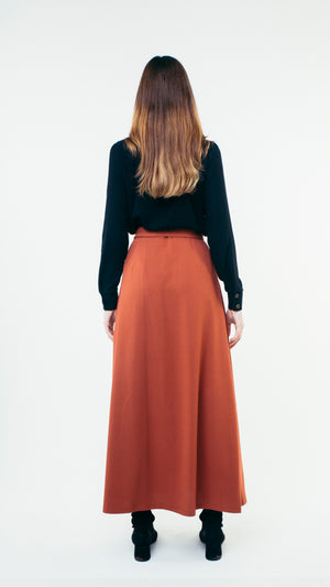 A-Line Wool Button Up Maxi Skirt with Front Pockets Burgundy