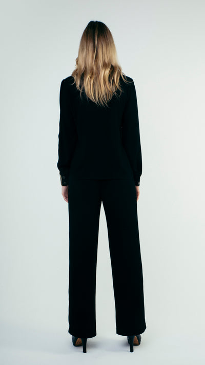 Straight Cut Wool Trousers with Front Pockets Black
