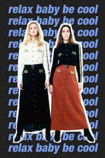 Load image into Gallery viewer, A-Line Wool Button Up Maxi Skirt with Front Pockets Burgundy