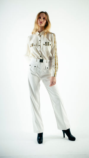 Straight Cut Vinyl Trousers with Front Pockets White